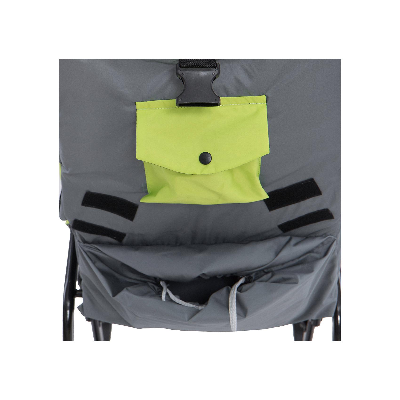 Санки-коляска Снегурочка 2P-1, ABC Academy, серый/зеленый