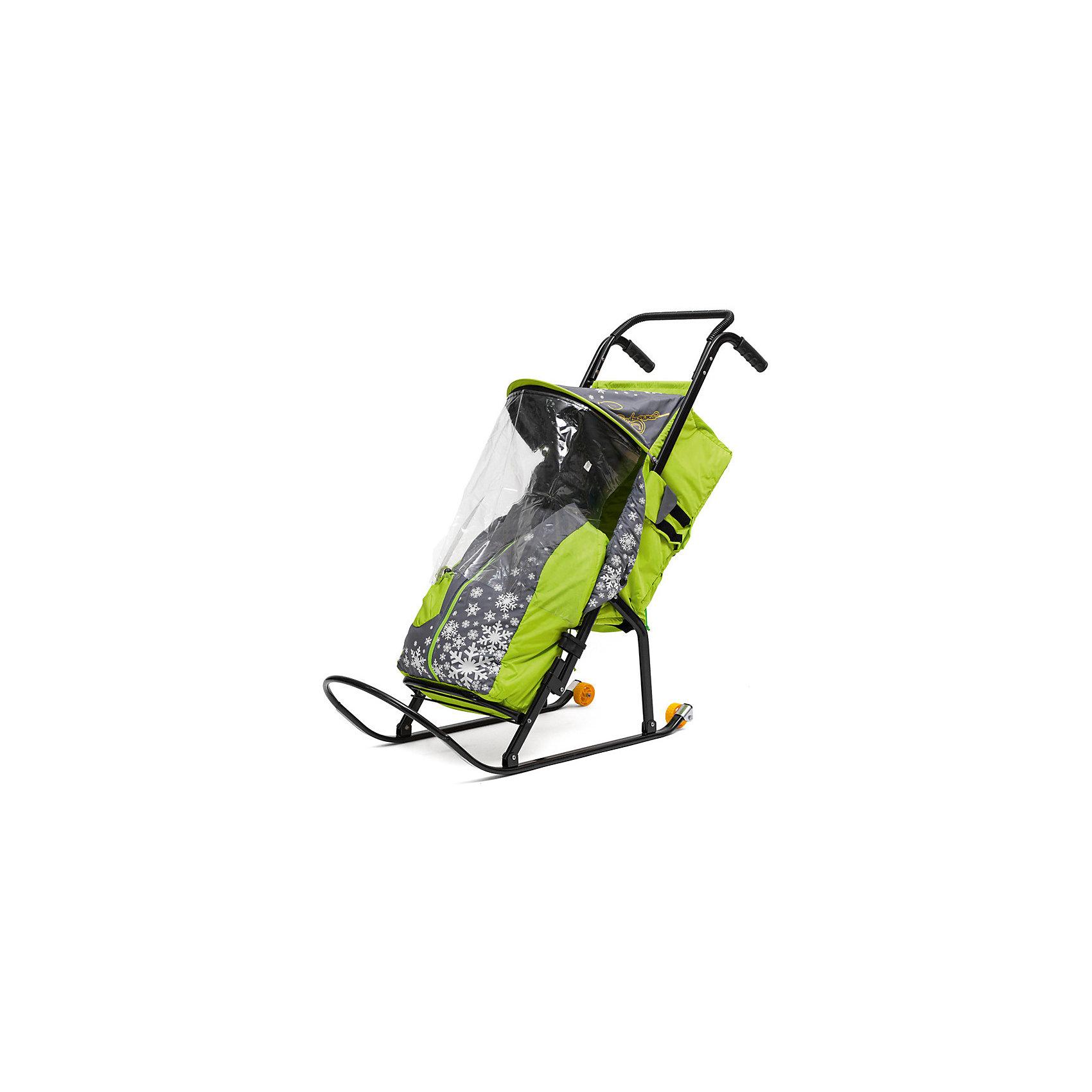 Санки-коляска Снегурочка 2P-1, с колесами, ABC Academy, серый/зеленый