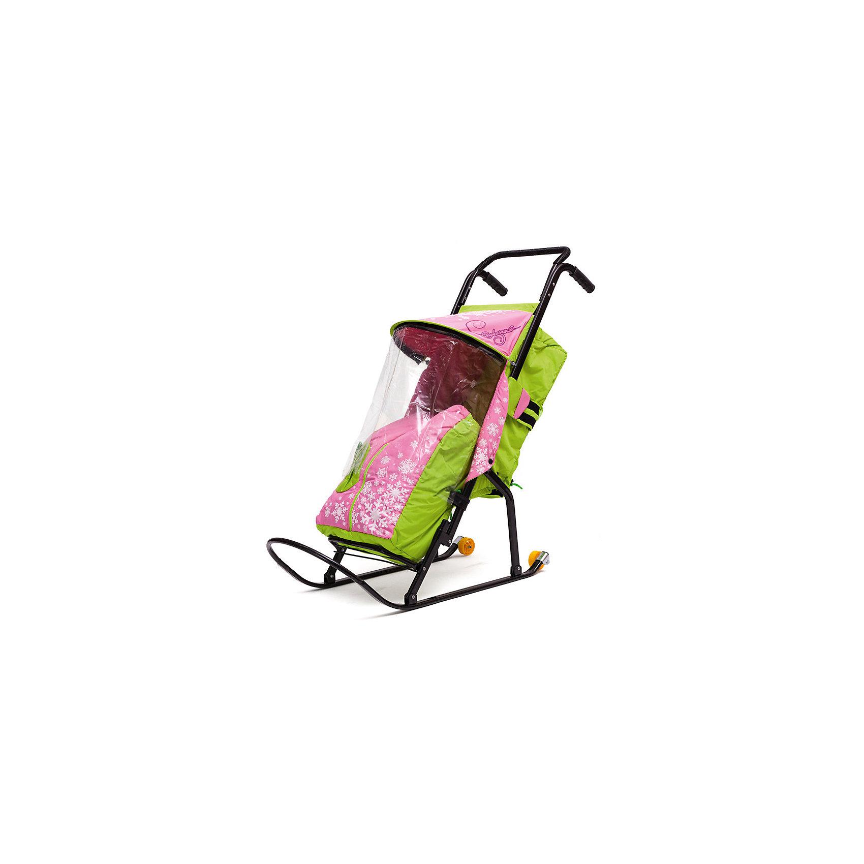 Санки-коляска Снегурочка 2P-1, с колесами, ABC Academy, зеленый/розовый