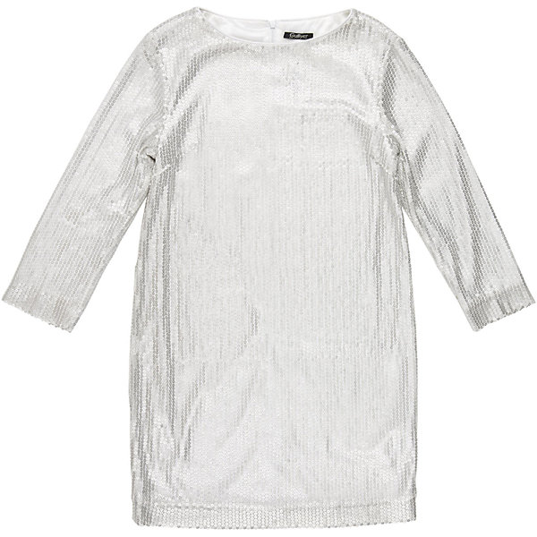 Нарядное платье для девочки GulliverОдежда<br>Платье для девочки от известного бренда Gulliver.<br>Простое, прямое, лаконичное платье из серебристых пайеток смотрится безупречно. Деликатный блеск, идеальная форма модели - такими и должны быть модные нарядные платья без лишнего пафоса.<br>Состав:<br>верх: 100% полиэстер; подкладка: 100% полиэстер<br>Ширина мм: 236; Глубина мм: 16; Высота мм: 184; Вес г: 177; Цвет: белый; Возраст от месяцев: 120; Возраст до месяцев: 132; Пол: Женский; Возраст: Детский; Размер: 146,158,152,164; SKU: 5103529;