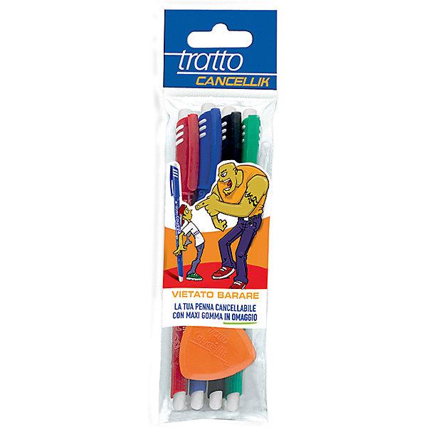 Tratto Шариковая ручка пиши-стирай, 4 шт в блистере + дополнительный ластик в наборе. ручки fila tratto cancellik шариковая ручкапиши стирайсиняя 2шт в блистере ластик