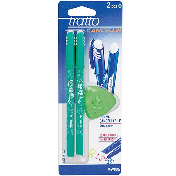 Шариковая ручка пиши-стирай 2 шт в блистере + дополнительный  ластик, цвет зеленый.Ручки<br>Характеристики товара:<br><br>• в комплекте: 2 ручки, ластик;<br>• цвет чернил: зеленый;<br>• ширина линии: 0,7 мм;<br>• размер упаковки: 21х7,5х1 см;<br>• возраст: от 3 лет.<br><br>Шариковые ручки «пиши-стирай» позволяют исправить свои ошибки и опечатки. В течение 24 часов чернила ручки можно удалить треугольным ластиком, входящим в комплект. Благодаря уникальной формуле чернил ручки мягко пишут, не царапая бумагу. Колпачок ручки надежно защищает чернила от высыхания.<br><br>Tratto (Тратто) Шариковую ручку пиши-стирай зеленую, 2 шт в блистере + ластик можно купить в нашем интернет-магазине.<br>Ширина мм: 80; Глубина мм: 10; Высота мм: 210; Вес г: 70; Возраст от месяцев: 72; Возраст до месяцев: 120; Пол: Унисекс; Возраст: Детский; SKU: 5107782;