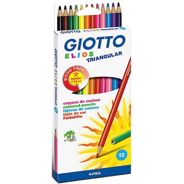 GIOTTO Полимерные цветные карандаши, 12 шт. карандаши восковые мелки пастель giotto stilnovo cancellab temp gom 10 цветных с индивидуальным ластиком