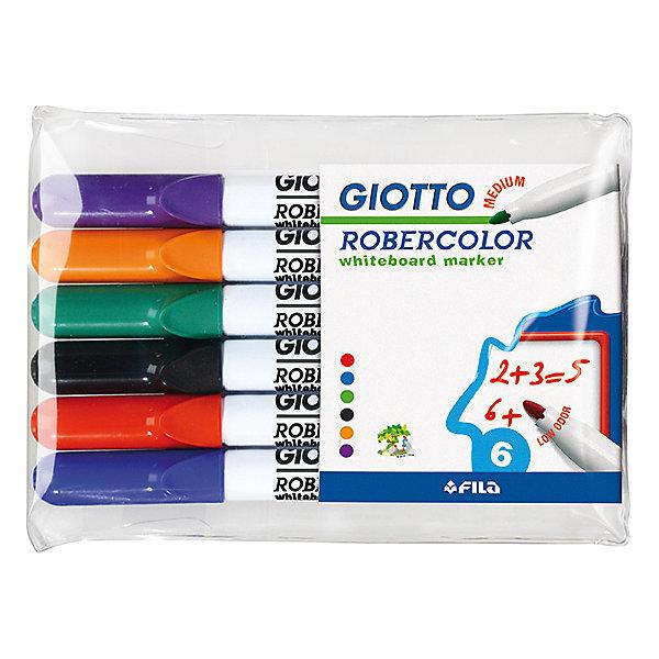 Набор маркеров для белой доски со средним наконечником 6штМаркеры<br>Характеристики товара:<br><br>• в комплекте: 6 маркеров;<br>• цвета: синий, черный, красный, зеленый, оранжевый, фиолетовый;<br>• материал: пластик;<br>• размер упаковки: 16х10,3х1 см;<br>• вес: 86 грамм;<br>• возраст: от 3 лет.<br><br>Маркеры Giotto Robecolor Whiteboard Medium подходят для рисования на любых белых досках. В наборе 4 ярких цвета: красный, синий, зеленый, черный. Наконечник круглой формы выполнен в средней толщине. Рисунок быстро стирается с доски при необходимости.<br><br>Giotto (Джотто) Robecolor Whiteboard Medium Набор маркеров для белой доски 6шт в бл. можно купить в нашем интернет-магазине.<br>Ширина мм: 60; Глубина мм: 10; Высота мм: 140; Вес г: 90; Возраст от месяцев: 72; Возраст до месяцев: 120; Пол: Унисекс; Возраст: Детский; SKU: 5107807;