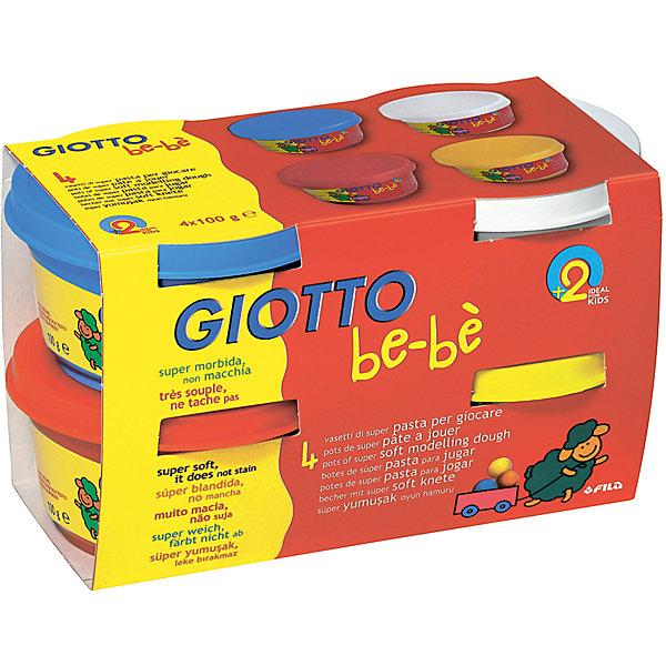 Мягкая паста для моделирования, 4шт х 100 г, красный, синий, белый, желтый.Масса для лепки<br>Характеристики товара:<br><br>• в комплекте: паста для лепки (4 цвета по 100 грамм);<br>• цвета: синий, белый, желтый, красный;<br>• размер упаковки: 10х9х17 см;<br>• вес: 450 грамм;<br>• возраст: от 2 лет.<br><br>Паста для лепки идеально подходит для развития творческих навыков, фантазии и мелкой моторики детей от двух лет. В набор от Dido входят 4 вида пасты: синяя, белая, желтая и красная. Из них ребенок сможет слепить замечательные фигурки. Фигурки становятся твердыми при нахождении на воздухе.<br><br>Паста изготовлена из натуральных компонентов с добавлением пищевых красителей, поэтому использовать ее смогут даже самые маленькие скульпторы. Паста имеет мировые сертификаты безопасности. Консистенция очень мягкая, приятная для детских рук. Паста хорошо разминается и легко приобретает нужную форму.<br><br>Giotto be-be (Джотто Бебе) Super Modelling Dough Мягкую пасту для моделирования 4шт х 100 гр можно купить в нашем интернет-магазине.<br>Ширина мм: 86; Глубина мм: 94; Высота мм: 170; Вес г: 591; Возраст от месяцев: 24; Возраст до месяцев: 72; Пол: Унисекс; Возраст: Детский; SKU: 5107864;