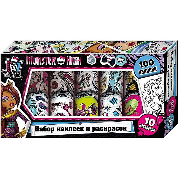 Наклейки и раскраски в коробке, Monster HighРисование<br>Характеристики товара:<br><br>- цвет: разноцветный;<br>- материал: бумага;<br>- количество страниц: 10;<br>- формат: 24,5 x 12,0 см;<br>- возраст: 5+;<br>- обложка: картонная коробка.<br><br>Новый набор – собрание раскрасок и наклеек популярных кукол Monster High. Модные наклейки – один из желанных предметов декора у малышей. С их помощью можно добавить индивидуальности тетрадям или своей комнате, так как ими можно украсить абсолютно любые поверхности и не бояться, что они испортят мебель или стены. Все материалы, использованные при производстве издания, соответствуют всем стандартам качества и безопасности. <br><br>Издание Наклейки и раскраски в коробке, Monster High от компании Росмэн можно приобрести в нашем интернет-магазине.<br>Ширина мм: 245; Глубина мм: 130; Высота мм: 40; Вес г: 172; Возраст от месяцев: 60; Возраст до месяцев: 84; Пол: Женский; Возраст: Детский; SKU: 5109862;