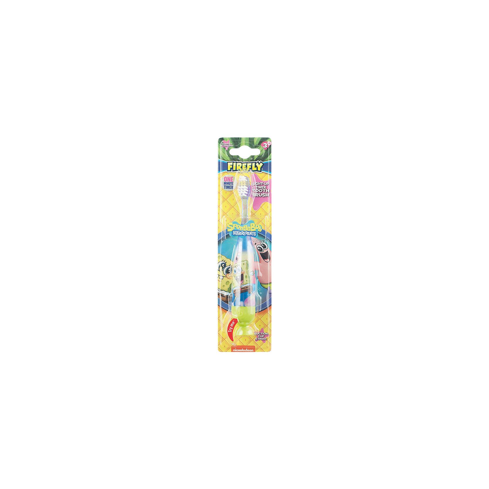 Зубная щетка Sponge Bob с мигающим световым таймером и присоской, Firefly