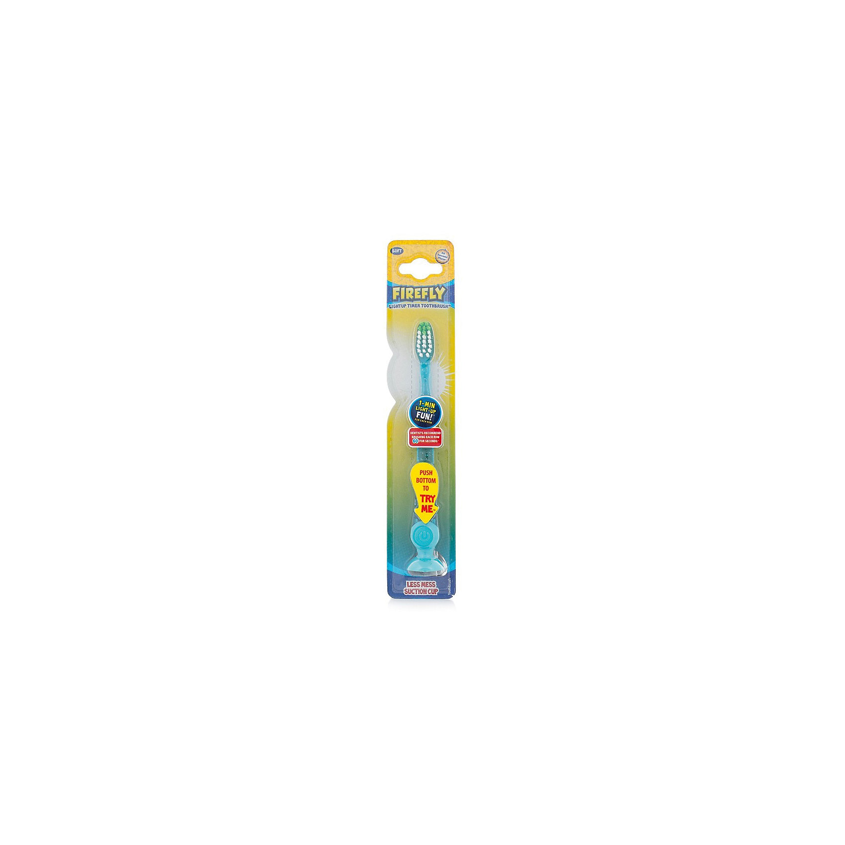 Зубная щетка с мигающим световым таймером и присоской, Firefly, голубой