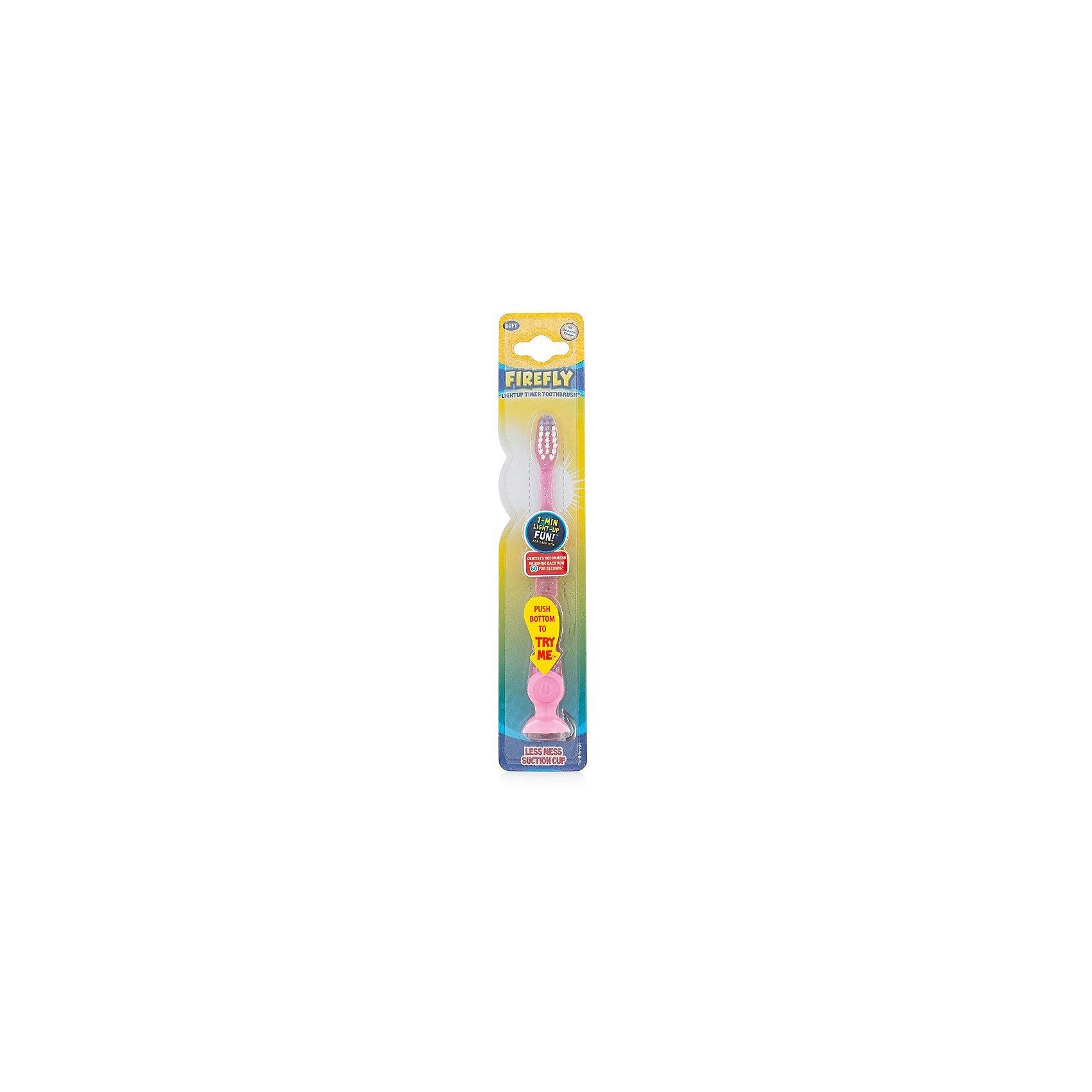 Зубная щетка с мигающим световым таймером и присоской, Firefly, розовый