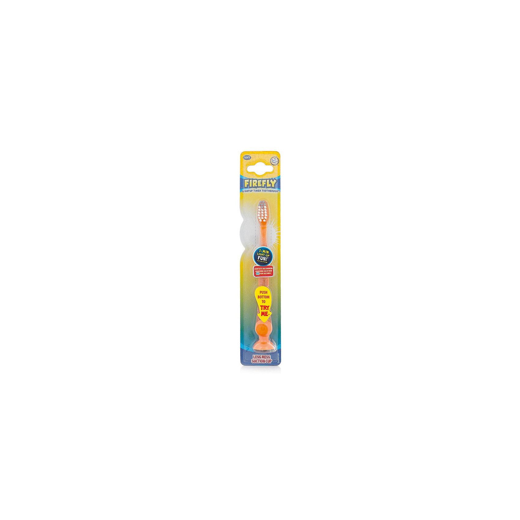 Зубная щетка с мигающим световым таймером и присоской, Firefly, желтый