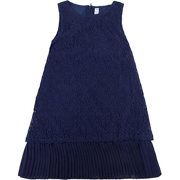 Нарядное платье для девочки PlayTodayОдежда<br>Платье для девочки от известного бренда PlayToday.<br>Платье без рукавов.<br><br>Верх из нежного гипюра, мягкая хлопковая подкладка обеспечивает удобство. По низу плиссированная отделка. Застегивается на потайную молнию сзади.<br>Состав:<br>Верх: 80% хлопок, 20% полиамид; подкладка: 100% хлопок<br>Ширина мм: 236; Глубина мм: 16; Высота мм: 184; Вес г: 177; Цвет: синий; Возраст от месяцев: 24; Возраст до месяцев: 36; Пол: Женский; Возраст: Детский; Размер: 98,104,122,116,110,128; SKU: 5113812;