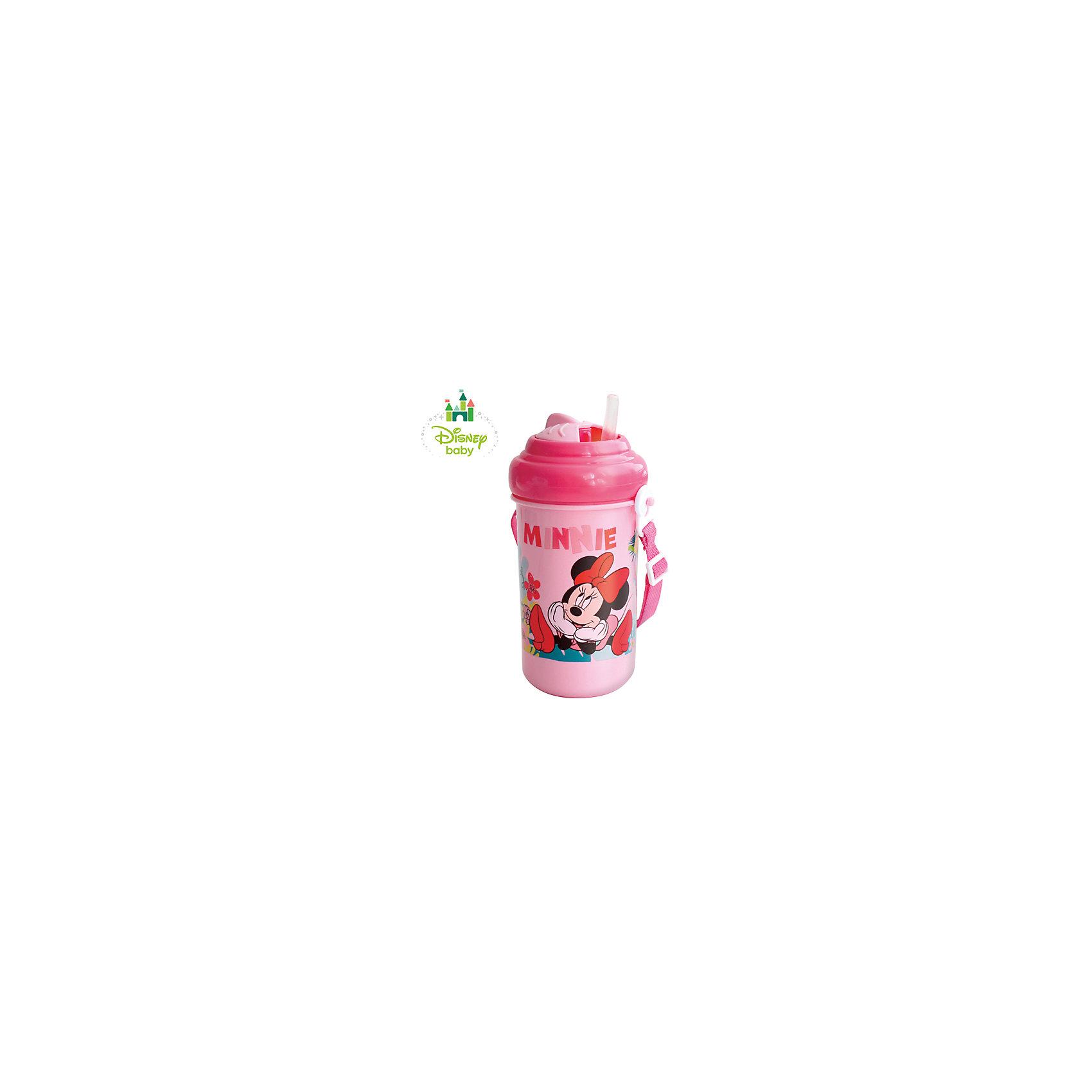 Поильник Минни DISNEY 360 мл.,от 6 мес., LUBBY, розовый матовый