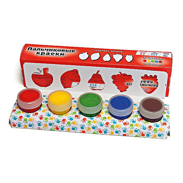 Пальчиковые краски + трафарет Фрукты 5цв х 22млПальчиковые краски<br>Краски идеально подходят для раннего обучения цветам, развития тонкой моторики, тактильного восприятия. В состав включены тематический трафарет для рисования. Состав: пищевой краситель, целлюлозный загуститель, глицерин, мел, консервант косметический, вода питьевая.<br>Ширина мм: 24; Глубина мм: 6; Высота мм: 4; Вес г: 110; Возраст от месяцев: 12; Возраст до месяцев: 60; Пол: Унисекс; Возраст: Детский; SKU: 5115208;