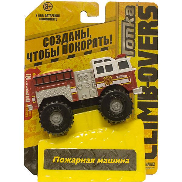Машинка Climb-overs Пожарная машина, TonkaМашинки<br>Машинка Climb-overs Пожарная машина, Tonka<br><br>Характеристики:<br><br>-Возраст: от 3 лет<br>-Для мальчиков<br>-Тип батареек: 2 х AAA / LR0.3 1.5V (мизинчиковые).<br>-Материал: пластик<br>-Марка: Tonka(Тонка)<br><br>Машинка Tonka Climb-overs Fire Rescue представляет собой красно-белый кузов пожарной машины, который оснащен лестницей и проблесковыми маячками. Мощные черные колеса автомобиля с серыми дисками легко проедут через любое препятствие. А если ребенок нажмет на большую желтую кнопку, располагающуюся на крыше кузова, то машинка быстро помчится вперед. Собери всю коллекцию машинок данной серии и играй в них вместе с друзьями, придумывая разные игровые сюжеты! Также машинка подойдет для треков этой серии. Для работы требуются 3 батарейки ААА (в комплект не входят). <br><br>Машинка Climb-overs Пожарная машина, Tonka можно приобрести в нашем интернет-магазине.<br>Ширина мм: 165; Глубина мм: 51; Высота мм: 127; Вес г: 150; Возраст от месяцев: 36; Возраст до месяцев: 120; Пол: Мужской; Возраст: Детский; SKU: 5115732;