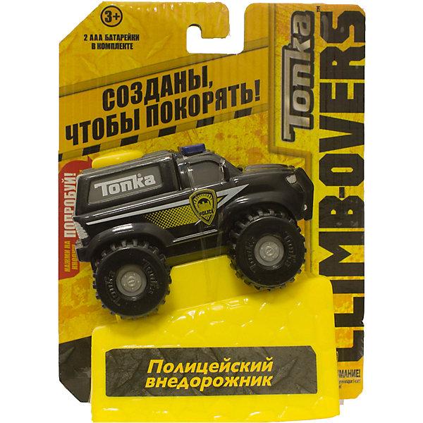 Машинка Climb-overs Полицейский внедорожник, TonkaМашинки<br>Машинка Climb-overs Полицейский внедорожник, Tonka<br><br>Характеристики:<br><br>-Возраст: от 3 лет<br>-Для мальчиков<br>-Тип батареек: 2 x AAA / LR0.3 1.5V <br>-Материал: пластик<br>-Марка: Tonka(Тонка)<br><br>Машинка Tonka Climb-overs Полицейский внедорожник станет отличным подарком для вашего мальчика. Машинка имеет черный корпус, на котором желтым цветом обозначен символ полиции. Мощные черные колеса автомобиля с серыми дисками легко проедут через любое препятствие. А если ребенок нажмет на большую желтую кнопку, располагающуюся на крыше кузова, то машинка быстро помчится вперед. Собери всю коллекцию машинок данной серии и играй в них вместе с друзьями, придумывая разные игровые сюжеты! Также машинка подойдет для треков этой серии. Для работы требуются 3 батарейки ААА (в комплект не входят). <br><br>Машинка Climb-overs Полицейский внедорожник, Tonka можно приобрести в нашем интернет-магазине.<br>Ширина мм: 165; Глубина мм: 51; Высота мм: 127; Вес г: 150; Возраст от месяцев: 36; Возраст до месяцев: 120; Пол: Мужской; Возраст: Детский; SKU: 5115733;