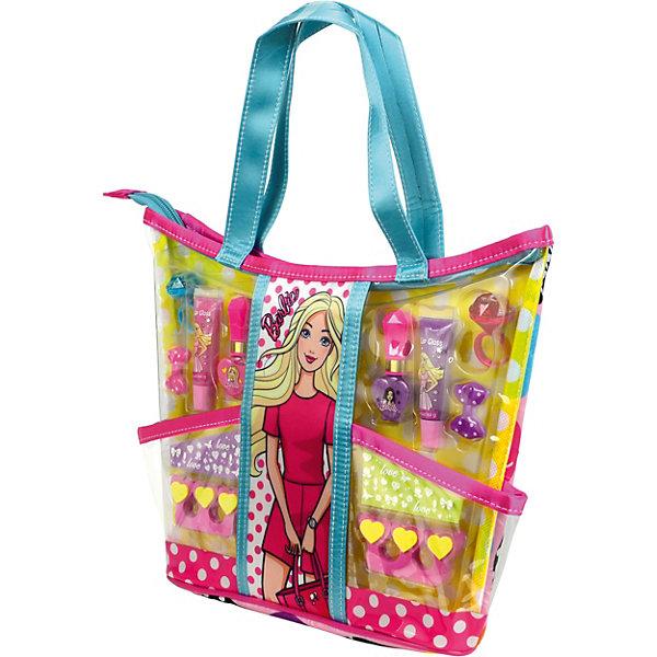 Barbie Игровой набор детской декоративной косметики с сумкойНаборы детской косметики<br>Состав набора: сумочка 1 шт., блески для губ в колечках 2 шт., лаки для ногтей на водной основе 2 шт., блески для губ в тубах 2 шт., заколочки для волос 2 шт., разделители для пальцев 2 шт., наклейки 2 листа.<br>Ширина мм: 312; Глубина мм: 276; Высота мм: 68; Вес г: 251; Возраст от месяцев: 36; Возраст до месяцев: 72; Пол: Женский; Возраст: Детский; SKU: 5117221;