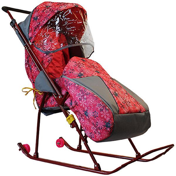 GALAXY Санки-коляска Galaxy Снежинка премиум, снежинки/розовый