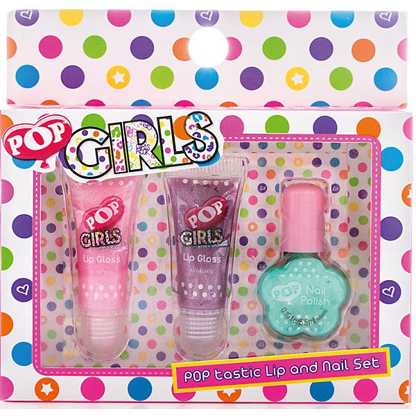 Набор детской косметики Pop GirlsНаборы детской косметики<br>Характеристики:<br><br>• Наименование: детская декоративная косметика<br>• Предназначение: для сюжетно-ролевых игр<br>• Пол: для девочки<br>• Материал: натуральные косметические компоненты, пластик, картон<br>• Цвет: розовый, сиреневый, бирюзовый<br>• Комплектация: 2 блеска для губ в тубах, лак для ногтей<br>• Размеры (Д*Ш*В): 13*2*13 см<br>• Вес: 90 г <br>• Упаковка: картонная упаковка с блистером<br><br>Игровой набор детской декоративной косметики POP для губ и ногтей – это набор игровой детской косметики от Markwins, которая вот уже несколько десятилетий специализируется на выпуске детской косметики. Рецептура декоративной детской косметики разработана совместно с косметологами и медиками, в основе рецептуры – водная основа, а потому она гипоаллергенны, не вызывает раздражений на детской коже и легко смывается, не оставляя следа. Безопасность продукции подтверждена международными сертификатами качества и безопасности. <br>Игровой набор детской декоративной косметики POP для губ и ногтей состоит из 2-х туб блеска для губ модных в любом сезоне оттенков и лака для ногтей. Набор упакован в косметичку на замочке-молнии. Косметические средства, входящие в состав набора, имеют длительный срок хранения – 12 месяцев. Игровой набор детской декоративной косметики POP для губ и ногтей от Markwins может стать незаменимым праздничным подарком для любой маленькой модницы!<br><br>Игровой набор детской декоративной косметики POP для губ и ногтей можно купить в нашем интернет-магазине.<br>Ширина мм: 140; Глубина мм: 130; Высота мм: 30; Вес г: 68; Возраст от месяцев: 48; Возраст до месяцев: 120; Пол: Женский; Возраст: Детский; SKU: 5124694;