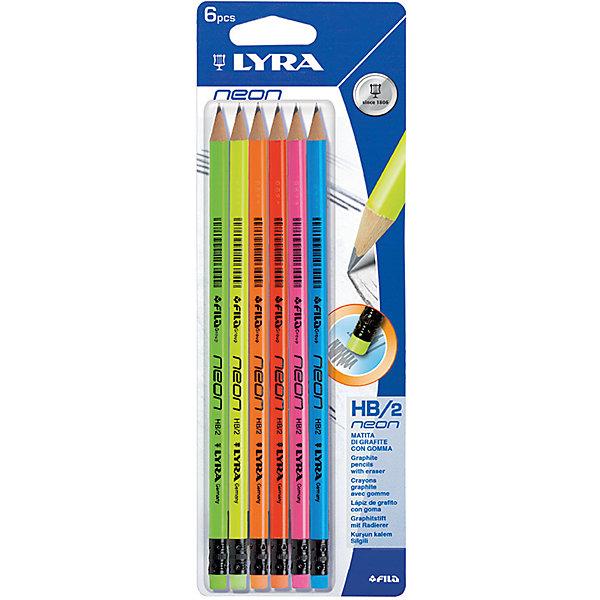 LYRA Чернографитные карандаши, лакированные неоновые с ластиком 6 шт (Мягкость HB) набор д творчества lyra graphite set карандаши художественные ластик пастель 11 предм в метал короб l2041111