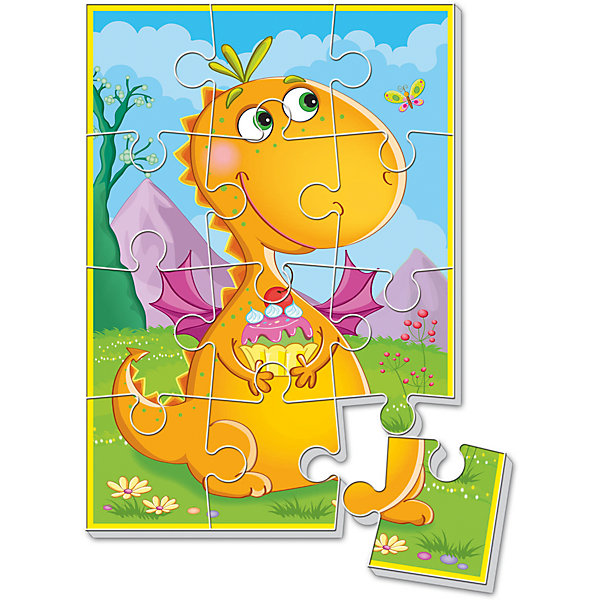 Мягкие пазлы А5 Динозаврик с пирожным, Динозаврики, Vladi ToysПазлы для малышей<br>Характеристики:<br><br>• Вид игр: развивающие<br>• Серия: пазлы-картинки<br>• Пол: универсальный<br>• Материал: полимер, картон<br>• Цвет: оранжевый, розовый, голубой, зеленый, сиреневый и др.<br>• Комплектация: 1 пазл из 12-ти элементов<br>• Размеры (Д*Ш*В): 18*4*28,5 см<br>• Тип упаковки: картонная коробка<br>• Вес: 21 г<br><br>Мягкие пазлы А5 Динозаврик с пирожным, Динозаврики, Vladi Toys, производителем которых является компания, специализирующаяся на выпуске развивающих игр, давно уже стали популярными среди аналогичной продукции. Мягкие пазлы – идеальное решение для развивающих занятий с самыми маленькими детьми, так как они разделены на большие элементы с крупными изображениями, чаще всего в качестве картинок используются герои популярных мультсериалов. Самое важное в пазле для малышей – это минимум деталей и безопасность элементов. Все используемые в производстве материалы являются экологически безопасными, не вызывают аллергии, не имеют запаха. Пазл Динозаврик с пирожным, Динозаврики, Vladi Toys, представляет собой сюжетную картинку размером А5, которая состоит из 12-и крупных элементов с изображением милого динозаврика. <br>Занятия с мягкими пазлами от Vladi Toys способствуют развитию не только мелкой моторики, но и внимательности, усидчивости, терпению при достижении цели. Кроме того, по собранной картинке можно составлять рассказ, что позволит развивать речевые навыки, память и воображение.<br><br>Мягкие пазлы А5 Динозаврик с пирожным, Динозаврики, Vladi Toys, можно купить в нашем интернет-магазине.<br>Ширина мм: 180; Глубина мм: 4; Высота мм: 285; Вес г: 21; Возраст от месяцев: 24; Возраст до месяцев: 60; Пол: Унисекс; Возраст: Детский; SKU: 5136077;