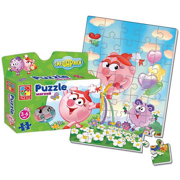 Мягкие пазлы А4 Смешарики, в коробке, Vladi ToysПазлы для малышей<br>Характеристики:<br><br>• Вид игр: развивающие<br>• Серия: пазлы-картинки<br>• Пол: универсальный<br>• Материал: полимер, картон<br>• Цвет: голубой, зеленый, сиреневый, розовый и др.<br>• Комплектация: 1 пазл из 35-ти элементов<br>• Размеры (Д*Ш*В): 19*4,5*22 см<br>• Тип упаковки: картонная коробка<br>• Вес: 75 г<br><br>Мягкие пазлы А4 Смешарики, в коробке, Vladi Toys, производителем которых является компания, специализирующаяся на выпуске развивающих игр, давно уже стали популярными среди аналогичной продукции. Мягкие пазлы – идеальное решение для развивающих занятий с самыми маленькими детьми, так как они разделены на большие элементы с крупными изображениями, чаще всего в качестве картинок используются герои популярных мультсериалов. Самое важное в пазле для малышей – это минимум деталей и безопасность элементов. Все используемые в производстве материалы являются экологически безопасными, не вызывают аллергии, не имеют запаха. Пазл А4 Смешарики, в коробке, Vladi Toys, представляет собой сюжетную картинку размером А4, которая состоит из 35-и крупных элементов с изображением Нюши, Бараша и Кар Карыча на цветочной поляне из мультфильма Смешарики. <br>Занятия с мягкими пазлами от Vladi Toys способствуют развитию не только мелкой моторики, но и внимательности, усидчивости, терпению при достижении цели. Кроме того, по собранной картинке можно составлять рассказ, что позволит развивать речевые навыки, память и воображение.<br><br>Мягкие пазлы А4 Смешарики, в коробке, Vladi Toys, можно купить в нашем интернет-магазине.<br>Ширина мм: 190; Глубина мм: 45; Высота мм: 220; Вес г: 75; Возраст от месяцев: 24; Возраст до месяцев: 60; Пол: Унисекс; Возраст: Детский; SKU: 5136082;