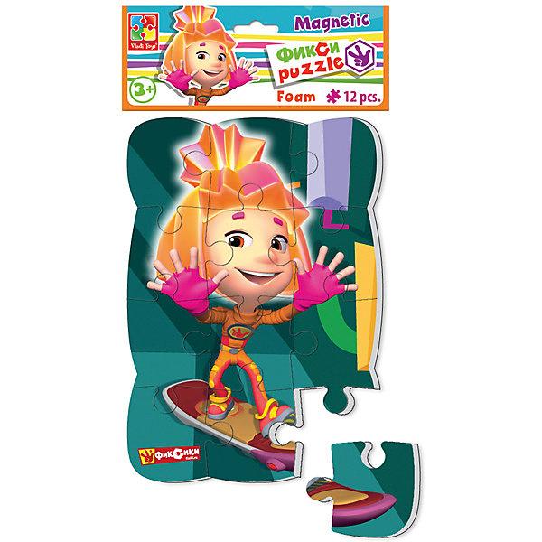 Пазлы на магните Симка, Фиксики, Vladi ToysПазлы для малышей<br>Характеристики:<br><br>• Вид игр: развивающие<br>• Серия: пазлы-магниты<br>• Пол: универсальный<br>• Материал: полимер, картон, магнит<br>• Цвет: розовый, оранжевый, зеленый, и др.<br>• Комплектация: 1 пазл из 12-ти элементов<br>• Размеры (Д*Ш*В): 18*4*30,5 см<br>• Тип упаковки: полиэтиленовый пакет с картонным клапаном <br>• Вес: 73 г<br><br>Пазлы на магните Симка, Фиксики, Vladi Toys, производителем которых является компания, специализирующаяся на выпуске развивающих игр, давно уже стали популярными среди аналогичной продукции. Мягкие пазлы – идеальное решение для развивающих занятий с самыми маленькими детьми, так как они разделены на большие элементы с крупными изображениями, чаще всего в качестве картинок используются герои популярных мультсериалов. Самое важное в пазле для малышей – это минимум деталей и безопасность элементов. Все используемые в производстве материалы являются экологически безопасными, не вызывают аллергии, не имеют запаха. Пазлы на магните Симка, Фиксики, Vladi Toys представляет собой сюжетную картинку, которая состоит из 12-и крупных элементов с изображением Симки. <br>Занятия с мягкими пазлами от Vladi Toys способствуют развитию не только мелкой моторики, но и внимательности, усидчивости, терпению при достижении цели. Кроме того, по собранной картинке можно составлять рассказ, что позволит развивать речевые навыки, память и воображение.<br><br>Пазлы на магните Симка, Фиксики, Vladi Toys можно купить в нашем интернет-магазине.<br>Ширина мм: 180; Глубина мм: 4; Высота мм: 305; Вес г: 73; Возраст от месяцев: 24; Возраст до месяцев: 60; Пол: Унисекс; Возраст: Детский; SKU: 5136087;