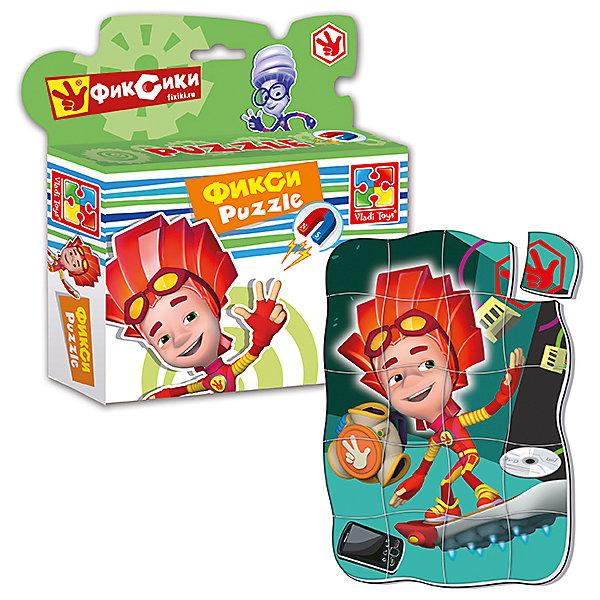 Магнитные фигурные пазлы Файер, Фиксики, , Vladi ToysПопулярные игрушки<br>Характеристики:<br><br>• Вид игр: развивающие<br>• Серия: пазлы-магниты<br>• Пол: универсальный<br>• Материал: полимер, картон, магнит<br>• Цвет: красный, оранжевый, зеленый и др.<br>• Комплектация: 1 пазл из 20-ти элементов<br>• Размеры (Д*Ш*В): 16,5*4*19,5 см<br>• Тип упаковки: картонная коробка<br>• Вес: 94 г<br><br>Пазлы на магните Файер, Фиксики, Vladi Toys, производителем которых является компания, специализирующаяся на выпуске развивающих игр, давно уже стали популярными среди аналогичной продукции. Мягкие пазлы – идеальное решение для развивающих занятий с самыми маленькими детьми, так как они разделены на большие элементы с крупными изображениями, чаще всего в качестве картинок используются герои популярных мультсериалов. Самое важное в пазле для малышей – это минимум деталей и безопасность элементов. Все используемые в производстве материалы являются экологически безопасными, не вызывают аллергии, не имеют запаха. Пазлы на магните Файер, Фиксики, Vladi Toys представляет собой сюжетную картинку, которая состоит из 20-и крупных элементов с изображением Файер. <br>Занятия с мягкими пазлами от Vladi Toys способствуют развитию не только мелкой моторики, но и внимательности, усидчивости, терпению при достижении цели. Кроме того, по собранной картинке можно составлять рассказ, что позволит развивать речевые навыки, память и воображение.<br><br>Пазлы на магните Файер, Фиксики, Vladi Toys можно купить в нашем интернет-магазине.<br>Ширина мм: 165; Глубина мм: 45; Высота мм: 195; Вес г: 94; Возраст от месяцев: 24; Возраст до месяцев: 60; Пол: Унисекс; Возраст: Детский; SKU: 5136090;