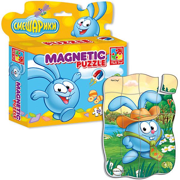 Магнитные фигурные пазлы Крош, Смешарики, Vladi ToysПазлы для малышей<br>Характеристики:<br><br>• Вид игр: развивающие<br>• Серия: пазлы-магниты<br>• Пол: универсальный<br>• Материал: полимер, картон, магнит<br>• Цвет:голубой, белый, зеленый, коричневый и др.<br>• Комплектация: 1 пазл из 20-ти элементов<br>• Размеры (Д*Ш*В): 16,5*4*19,5 см<br>• Тип упаковки: картонная коробка <br>• Вес: 94 г<br><br>Пазлы на магните Крош, Смешарики, Vladi Toys, производителем которых является компания, специализирующаяся на выпуске развивающих игр, давно уже стали популярными среди аналогичной продукции. Мягкие пазлы – идеальное решение для развивающих занятий с самыми маленькими детьми, так как они разделены на большие элементы с крупными изображениями, чаще всего в качестве картинок используются герои популярных мультсериалов. Самое важное в пазле для малышей – это минимум деталей и безопасность элементов. Все используемые в производстве материалы являются экологически безопасными, не вызывают аллергии, не имеют запаха. Пазлы на магните Крош, Смешарики, Vladi Toys представляет собой сюжетную картинку, которая состоит из 20-и магнитных элементов с изображением Кроша в шляпе. <br>Занятия с мягкими пазлами от Vladi Toys способствуют развитию не только мелкой моторики, но и внимательности, усидчивости, терпению при достижении цели. Кроме того, по собранной картинке можно составлять рассказ, что позволит развивать речевые навыки, память и воображение.<br><br>Пазлы на магните Крош, Смешарики, Vladi Toys можно купить в нашем интернет-магазине.<br>Ширина мм: 165; Глубина мм: 45; Высота мм: 195; Вес г: 94; Возраст от месяцев: 24; Возраст до месяцев: 60; Пол: Унисекс; Возраст: Детский; SKU: 5136092;