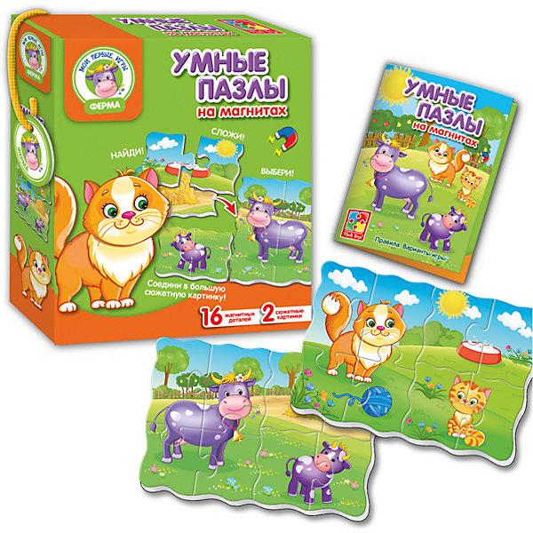 Умные пазлы на магнитах Ферма, Vladi ToysПазлы для малышей<br>Характеристики:<br><br>• Вид игр: развивающие<br>• Серия: пазлы-магниты<br>• Пол: универсальный<br>• Материал: полимер, картон, магнит<br>• Цвет: голубой, черный, белый, желтый, зеленый коричневый и др.<br>• Комплектация: 2 картинки из 16 элементов, инструкция<br>• Размеры (Д*Ш*В): 18*5*21 см<br>• Тип упаковки: картонная коробка<br>• Вес: 180 г<br>• Предусмотрено несколько вариантов игр<br>• Возможность вариации заданий по сложности <br><br>Умные пазлы на магнитах Ферма, Vladi Toys, производителем которых является компания, специализирующаяся на выпуске развивающих игр, давно уже стали популярными среди аналогичной продукции. Мягкие пазлы – идеальное решение для развивающих занятий с самыми маленькими детьми, так как они разделены на большие элементы с крупными изображениями, чаще всего в качестве картинок используются герои популярных мультсериалов. Самое важное в пазле для малышей – это минимум деталей и безопасность элементов. Все используемые в производстве материалы являются экологически безопасными, не вызывают аллергии, не имеют запаха. Умные пазлы на магнитах Ферма, Vladi Toys представляют собой 2 сюжетные картинки, которая можно собирать как по отдельности, так и объединять в одну. Игра предусматривает несколько вариантов заданий, сложность которых может быть различной. На картинке изображены взрослые животные с малышами.<br>Занятия с пазлами от Vladi Toys способствуют развитию не только мелкой моторики, но и внимательности, усидчивости, терпению при достижении цели. Кроме того, по собранной картинке можно составлять рассказ, что позволит развивать речевые навыки, память и воображение.<br><br>Умные пазлы на магнитах Ферма, Vladi Toys можно купить в нашем интернет-магазине.<br>Ширина мм: 180; Глубина мм: 50; Высота мм: 210; Вес г: 50; Возраст от месяцев: 24; Возраст до месяцев: 60; Пол: Унисекс; Возраст: Детский; SKU: 5136102;