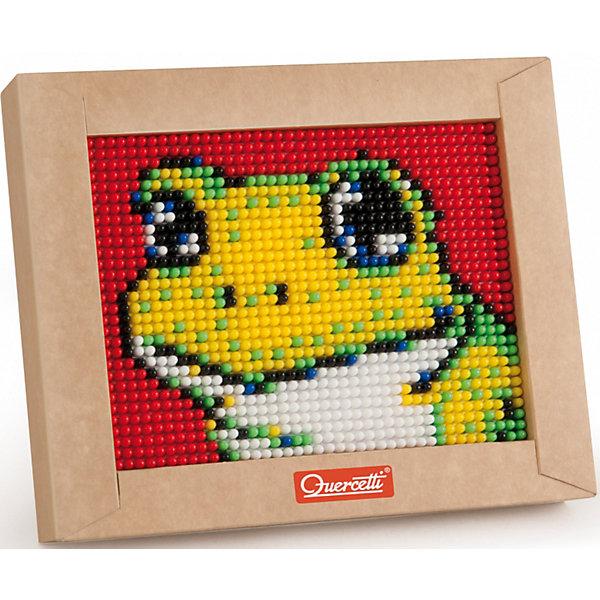 Пиксельная мозаика Лягушонок, 1200 деталей, QuercettiМозаика<br>Пиксельная мозаика Лягушонок, 1200 деталей, Quercetti (Кверчетти).<br><br>Характеристики:<br><br>- В наборе: 1200 деталей 6-ти цветов, основа (наборная доска), картонная рамка, направляющий лист, плакат, инструкция<br>- Размер основы: 16,5 х 12,5 см.<br>- Размер рамки: 21 х 16,5 х 3,2 см.<br>- Цвета: белый, черный, красный, синий, желтый, зеленый<br>- Материал: безопасный пластик, окрашенный нетоксичными красками<br>- Упаковка: картонная коробка<br>- Размер упаковки: 17 х 22 х 4 см.<br><br>Пиксельная мозаика от Quercetti (Кверчетти) поможет вашему малышу из 1200 деталей создать изображение лягушонка. Нужно просто положить цветную схему на основу и можно начинать собирать мозаику! Рисунок на листе разделен на маленькие квадратики. Ребенку нужно выбрать подходящие по цвету детали-гвоздики и вставить их в отверстия. Кончики элементов легко проходят сквозь бумагу и надежно фиксируются в основе. В итоге они ложатся ровными рядами, а разноцветные шляпки сливаются в единое цветовое полотно, и если смотреть на собранную картинку с расстояния, изображение чудесным образом преобразится, повторяя эффект фотографии. Готовую картинку можно вставить в картонную рамочку и повесить на стену, как настоящую картину. Собирание мозаики развивает у детей цветовосприятие, творческие способности, внимание, усидчивость и мелкую моторику.<br><br>Пиксельную мозаику Лягушонок, 1200 деталей, Quercetti (Кверчетти) можно купить в нашем интернет-магазине.<br>Ширина мм: 220; Глубина мм: 36; Высота мм: 170; Вес г: 314; Возраст от месяцев: 60; Возраст до месяцев: 96; Пол: Унисекс; Возраст: Детский; SKU: 5140050;