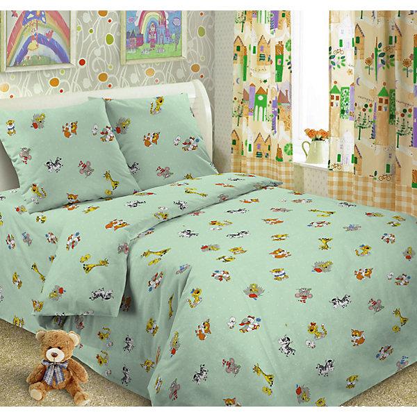 Letto Детское постельное белье 3 предмета Letto, Ясли зверята, зеленый постельное белье 1 5 спальное непоседа тролли счастливая розочка 1 5 спальное 3 предмета