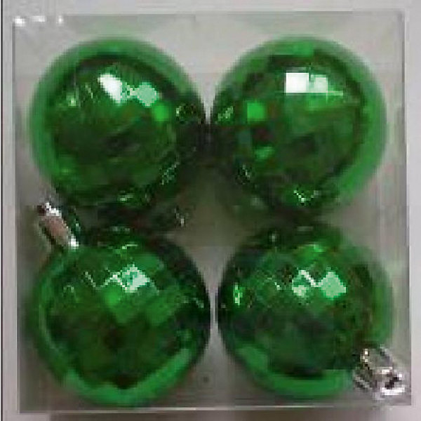 Феникс-Презент Новогоднее подвесное украшение шар Зеленый диско (4 см, набор 4 шт, пластик) новогоднее подвесное украшение феникс презент кленовый лист
