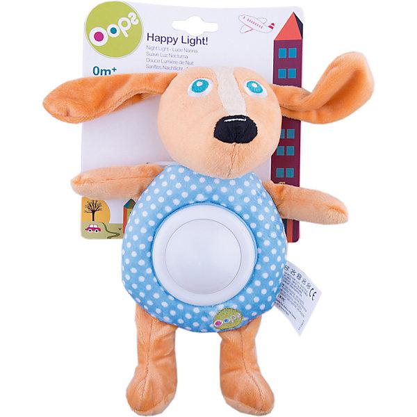 Игрушка-ночник Собака, OopsДетские предметы интерьера<br>Характеристики игрушки-ночника Собака:<br><br>- тип ночника: детский<br>- назначение: освещение детских комнат<br>- крепление: настольное<br>- количество ламп: 1 шт.<br>- материал плафона: пластик<br>- тип выключателя: механический<br>- размеры: 19 * 24 * 9 см <br>- размер упаковки (дхшхв): 20* 18 * 8 см <br>- вес в упаковке: 110 г<br>- электропитание: 2 ААА<br>- форм-фактор батареи: AAA (LR03)<br>- количество элементов питания: 2 шт.<br>- комплектация ночник: 3 батарейки АА<br>- вес в упаковке: 115 г<br>- производитель: Oops (Китай).<br><br>Ночник Собака – это мягконабивная игрушка для детей от 2-3 месяцев. Мягкий ночничок в виде смешной собачки поможет Вашему малышу быстро заснуть. С такой мягкой и приятной на ощупь игрушкой ребенку будет приятно и спокойно, как днём во время игры, так и вечером. Если нажать на животик собачки, то загорится свет от ночника. <br>Цвета на ночнике могут меняться на зеленый, красный, синий и желтый.<br><br>Игрушка-ночник Собака торговой марки Oops (Упс) можно купить в нашем интернет-магазине.<br>Ширина мм: 160; Глубина мм: 60; Высота мм: 270; Вес г: 225; Возраст от месяцев: 24; Возраст до месяцев: 60; Пол: Унисекс; Возраст: Детский; SKU: 5146698;