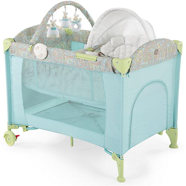 Кровать-манеж LAGOON V2, Happy Baby, голубойДетские кроватки<br>Кровать-манеж LAGOON V2, Happy Baby, голубой.<br><br>Характеристики:<br><br>• можно использовать в качестве кроватки или шезлонга<br>• имеет второе дно для новорожденных малышей<br>• шезлонг можно использовать как качалку или как пеленальный столик<br>• есть дуга с игрушками <br>• съемные силиконовые полозья для укачивания малыша<br>• вход сбоку на молнии<br>• есть карман и москитная сетка<br>• шезлонг оснащен ремнями безопасности<br>• блок с подсветкой и вибрацией <br>• компактна в собранном виде<br>• материал: пластик, металл, полиэстер<br>• вес: 13,2 кг<br>• размер в разложенном виде: 110х80х85 см<br>• размер шезлонга: 73х47х34 см<br>• размер в собранном виде: 27х24х80 см<br>• цвет: голубой<br><br>Универсальная кровать-манеж lagoon v2 от известной марки Happy Baby можно использовать как манеж, кроватку или шезлонг. Манеж имеет второе дно для малышей. Шезлонг тоже можно использовать в двух вариантах: качалка и пеленальный столик. Для этого достаточно установить шезлонг на полозья, либо на бортики. Уберите второе дно - и манеж легко превратится из спального места в игровую площадку!  Кроме того, манеж имеет много приятных мелочей, которые облегчат жизнь родителей: дополнительный лаз на молнии, карман для полезных вещей, дуга с мягкими зайчиками и многое другое. Для вашего удобства манеж оснащен колесиками и очень компактен в собранном виде. Кровать-манеж lagoon v2 - лучший выбор заботливых родителей!<br><br>Кровать-манеж LAGOON V2, Happy Baby, голубой вы можете купить в нашем интернет-магазине.<br>Ширина мм: 270; Глубина мм: 270; Высота мм: 810; Вес г: 13830; Цвет: голубой; Возраст от месяцев: 0; Возраст до месяцев: 36; Пол: Унисекс; Возраст: Детский; SKU: 5148402;
