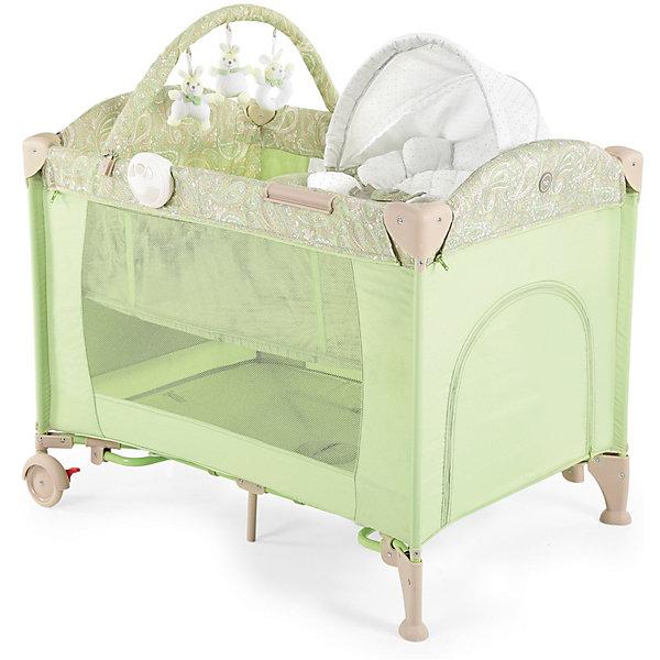 Кровать-манеж LAGOON V2, Happy Baby, зеленыйДетские манежи<br>Кровать-манеж LAGOON V2, Happy Baby, зеленый.<br><br>Характеристики:<br><br>• можно использовать в качестве кроватки или шезлонга<br>• имеет второе дно для новорожденных малышей<br>• шезлонг можно использовать как качалку или как пеленальный столик<br>• есть дуга с игрушками <br>• съемные силиконовые полозья для укачивания малыша<br>• вход сбоку на молнии<br>• есть карман и москитная сетка<br>• шезлонг оснащен ремнями безопасности<br>• блок с подсветкой и вибрацией <br>• компактна в собранном виде<br>• материал: пластик, металл, полиэстер<br>• вес: 13,2 кг<br>• размер в разложенном виде: 110х80х85 см<br>• размер шезлонга: 73х47х34 см<br>• размер в собранном виде: 27х24х80 см<br>• цвет: зеленый<br><br>Универсальная кровать-манеж lagoon v2 от известной марки Happy Baby можно использовать как манеж, кроватку или шезлонг. Манеж имеет второе дно для малышей. Шезлонг тоже можно использовать в двух вариантах: качалка и пеленальный столик. Для этого достаточно установить шезлонг на полозья, либо на бортики. Уберите второе дно - и манеж легко превратится из спального места в игровую площадку!  Кроме того, манеж имеет много приятных мелочей, которые облегчат жизнь родителей: дополнительный лаз на молнии, карман для полезных вещей, дуга с мягкими зайчиками и многое другое. Для вашего удобства манеж оснащен колесиками и очень компактен в собранном виде. Кровать-манеж lagoon v2 - лучший выбор заботливых родителей!<br><br>Кровать-манеж LAGOON V2, Happy Baby, зеленый вы можете купить в нашем интернет-магазине.<br>Ширина мм: 270; Глубина мм: 270; Высота мм: 810; Вес г: 13830; Возраст от месяцев: 0; Возраст до месяцев: 36; Пол: Унисекс; Возраст: Детский; SKU: 5148403;