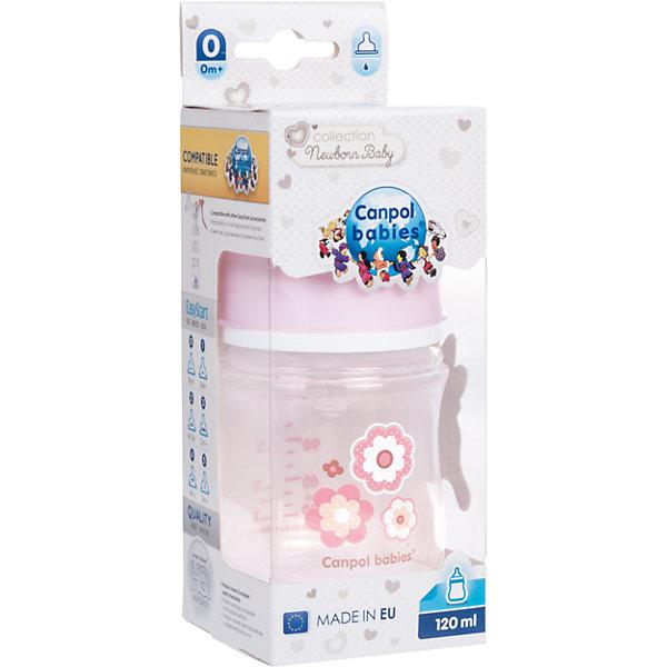 Фотография товара бутылочка PP EasyStart с широким горлышком антиколиковая, 120 мл, 0+ Newborn baby, Canpol Babies, розовый (5156781)