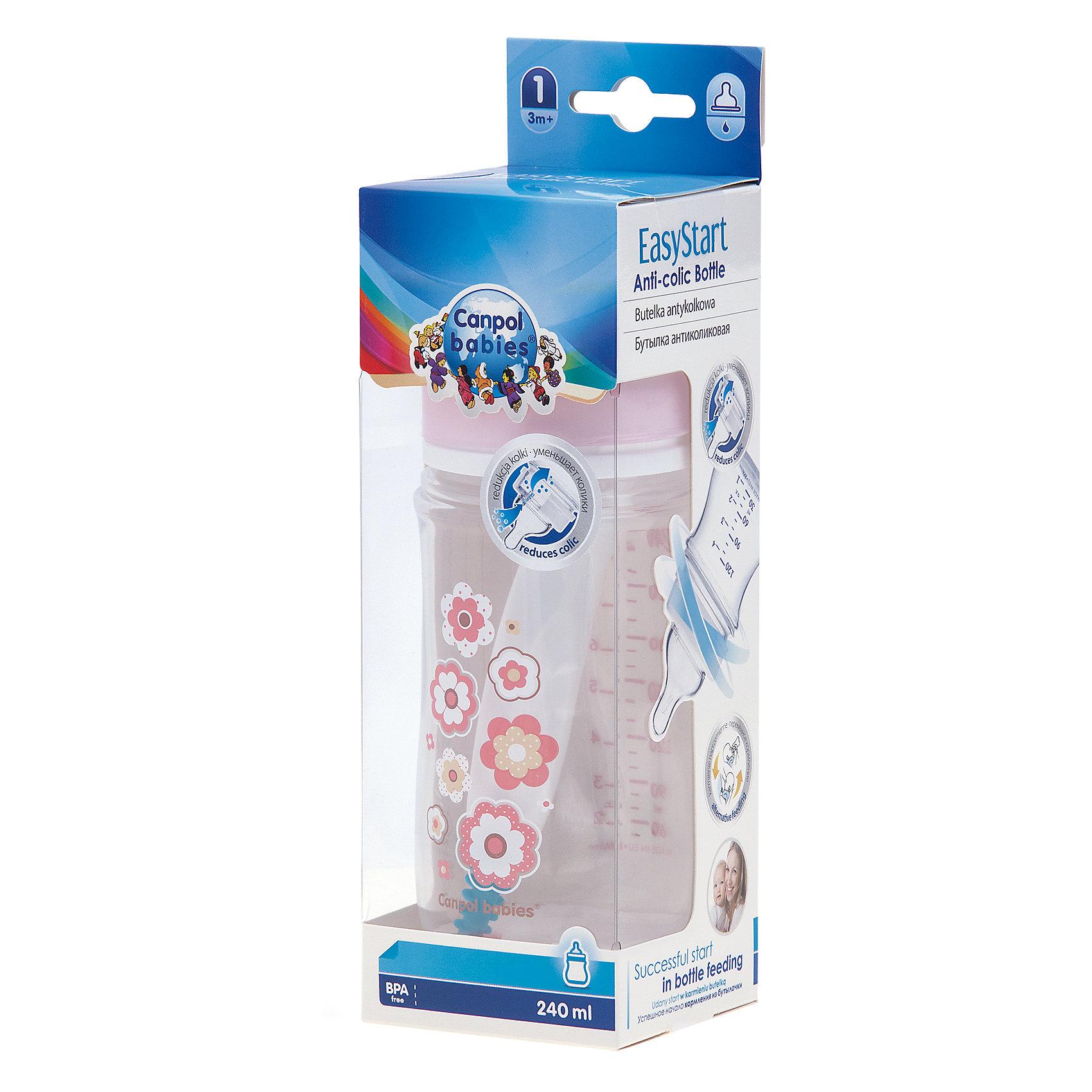 Бутылочка PP EasyStart с широким горлышком антиколиковая, 240 мл, 3+ Newborn baby, Canpol Babies, розовый