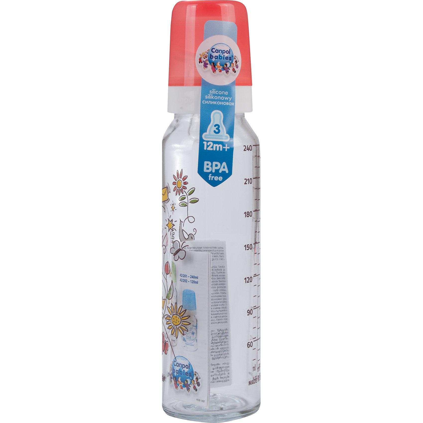 Бутылочка стеклянная с сил. соской, 240 мл. 12+, Canpol Babies, красный