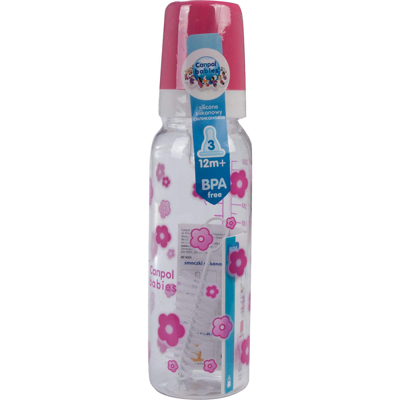 Бутылочка тритановая (BPA 0%) с сил. соской, 250 мл. 12+, Canpol Babies, розовый