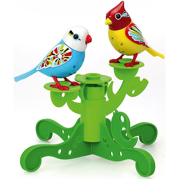 Две птички с деревом, голубая и жёлтая, DigiBirdsИнтерактивные животные<br>Характеристики товара:<br><br>- цвет: голубой, желтый;<br>- материал: пластик, металл;<br>- батарейки: 3xAG13/LR44, в комплекте;<br>- размер упаковки: 25х25х6 см;<br>- умеют петь, двигать крыльями, открывать клюв.<br><br>Такая игрушка в виде птичек на дереве поможет ребенку весело проводить время - каждая умеет петь, двигать крыльями, открывать клюв. Это выглядит очень забавно! Игрушка реагирует на звук от специального свистка, который входит в комплект, или на дуновение. Также можно приобрести другие игрушки из этой серии - тогда они будут петь хором!<br>Игрушка способна помогать всестороннему развитию ребенка: развивать тактильное восприятие, мелкую моторику, воображение, внимание и логику. Изделие произведено из качественных материалов, безопасных для ребенка. Набор станет отличным подарком детям!<br><br>Игрушку Две птички с деревом, голубая и жёлтая от бренда DigiBirds можно купить в нашем интернет-магазине.<br>Ширина мм: 57; Глубина мм: 248; Высота мм: 248; Вес г: 330; Возраст от месяцев: 36; Возраст до месяцев: 2147483647; Пол: Женский; Возраст: Детский; SKU: 5156841;