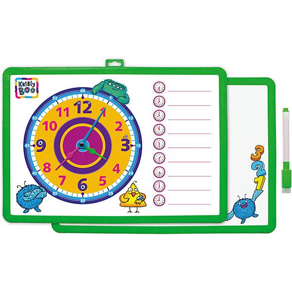 Доска-часы двусторонняя, с маркером (зеленая)Доски и коврики для рисования<br>Характеристики товара:<br><br>• цвет: зеленый<br>• материал: полимер<br>• размер: 25х34 см<br>• вес: 180 г<br>• комплектация: доска-часы, маркер<br>• возраст: от трех лет<br>• страна бренда: Финляндия<br>• страна изготовитель: Китай<br><br>Такая доска сделает учебу легче и интереснее! Доска выпонена в приятной яркой расцветке. С помощью неё ребенок легко научится узнавать время, сможет рисовать, а также будет тренировать внимательность, абстрактное мышление, логику, усидчивость. Комплект будет полезен собирающимся идти в школу, а также младшим школьникам. <br>На одной стороне изделия - часы, на другой - поверхность для рисования. Доска выпущена в удобном формате, со всеми необходимыми предметами в наборе. Изделие производится из качественных и проверенных материалов, которые безопасны для детей.<br><br>Доску-часы двустороннюю, с маркером от бренда KriBly Boo можно купить в нашем интернет-магазине.<br>Ширина мм: 340; Глубина мм: 250; Высота мм: 10; Вес г: 183; Возраст от месяцев: 36; Возраст до месяцев: 84; Пол: Унисекс; Возраст: Детский; SKU: 5167803;