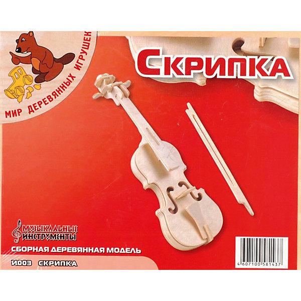 Скрипка, Мир деревянных игрушекДеревянные модели<br>Характеристики товара:<br><br>• размер упаковки: 18x3x23 см<br>• вес: 170 г<br>• материал: дерево<br>• для сборки<br>• возраст: от пяти лет<br>• упаковка: картонная коробка<br>• страна бренда: РФ<br>• страна изготовитель: Китай<br><br>Такой набор станет отличным подарком ребенку - ведь с помощью него можно собрать скрипку, так похожую на настоящую! В набор входят детали и инструкция по сборке. Это отличный способ занять ребенка!<br>Создание чего-либо своими руками помогает детям развивать важные навыки и способности, оно активизирует мышление, формирует усидчивость, логику, мелкую моторику и воображение. Изделие производится из качественных и проверенных материалов, которые безопасны для детей.<br><br>Скрипку от бренда Мир деревянных игрушек можно купить в нашем интернет-магазине.<br>Ширина мм: 185; Глубина мм: 30; Высота мм: 230; Вес г: 167; Возраст от месяцев: 36; Возраст до месяцев: 120; Пол: Унисекс; Возраст: Детский; SKU: 5171422;