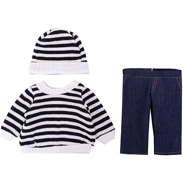 Одежда для кукол: шапочка, кофточка и штаны, 30x20см, JUNFAОдежда для кукол<br>Одежда для кукол: шапочка, кофточка и штаны, 30x20см, JUNFA (Джунфа). <br><br>Характеристика:<br><br>• Материал: текстиль. <br>• Размер: 30х20 см.<br>• Длина штанов: 20,5 см. <br>• Идеально подходит для кукол Baby Love высотой 30 см. <br>• Комплектация: свитер и шапочка в черно-белую полоску, однотонные штаны, вешалка. <br>• Мягкая, приятная на ощупь ткань. <br><br>Очаровательный полосатый комплект для самой любимой куклы на свете! В набор входят однотонные штаны, свитер и кофточка - все что нужно для холодной погоды. Одежда выполнена из высококачественных материалов, отлично комбинируется с одеждой и аксессуарами из других наборов, предназначена для кукол высотой 30 см. <br><br>Одежду для кукол: шапочку, кофточку и штаны, 30x20см, JUNFA (Джунфа) можно купить в нашем интернет-магазине.<br>Ширина мм: 300; Глубина мм: 200; Высота мм: 10; Вес г: 521; Возраст от месяцев: 36; Возраст до месяцев: 1188; Пол: Женский; Возраст: Детский; SKU: 5173025;