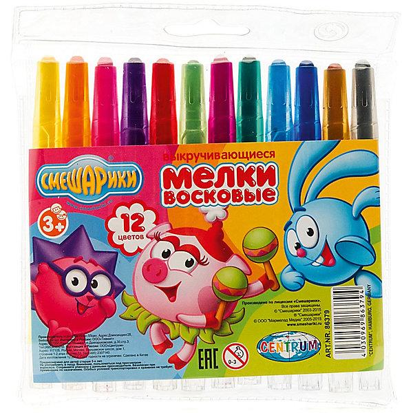 CENTRUM Мелки восковые выкручивающиеся Смешарики, 12 цветов карандаши восковые мелки пастель crayola выкручивающиеся восковые мелки 12 шт