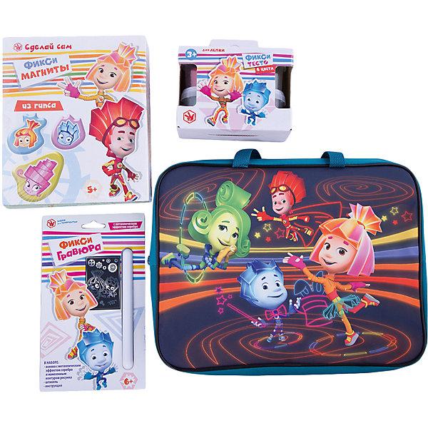 Набор для творчества Фиксики (4 предмета)Популярные игрушки<br>Набор для творчества Фиксики (4 предмета), Centrum (Центрум)<br><br>Характеристики<br><br>• содержит всё необходимое для веселого отдыха<br>• удобная упаковка<br>• в комплекте: набор для изготовления магнитов из гипса, гравюра малая, тесто для лепки (4 цвета по 80 грамм), папка-сумка<br>• размер: 35х26х4 см<br>• вес: 1165 грамм<br><br>Набор Фиксики содержит всё необходимое для интересного времяпровождения. Ребенок может выбрать себе любое занятие: создать магнит из гипса, сделать гравюру с изображением Фиксика или слепить фигурку из теста для лепки. Все предметы упакованы в удобную текстильную сумку. С Фиксиками время пролетит незаметно!<br><br>Набор для творчества Фиксики (4 предмета), Centrum (Центрум) вы можете купить в нашем интернет-магазине.<br>Ширина мм: 50; Глубина мм: 360; Высота мм: 280; Вес г: 1165; Возраст от месяцев: 36; Возраст до месяцев: 120; Пол: Унисекс; Возраст: Детский; SKU: 5175378;