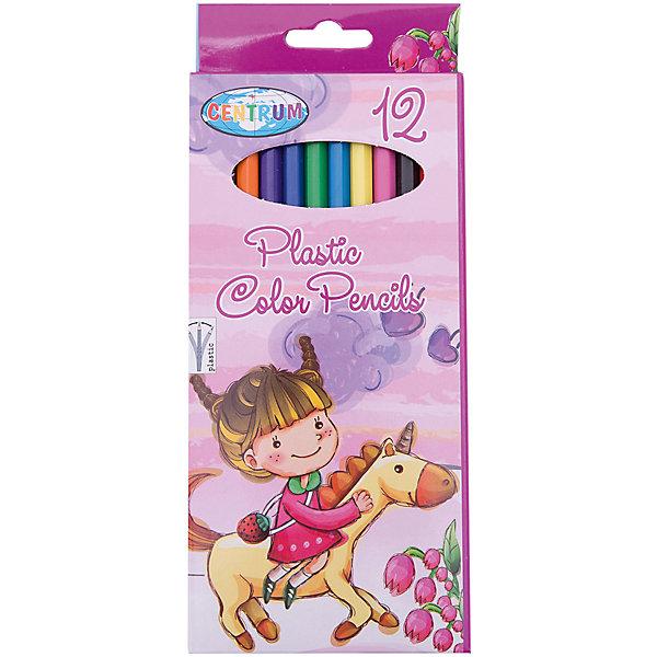 CENTRUM Длинные цветные карандаши Единорог, 12 цветов карандаши цветные evolution 12 цветов 829029