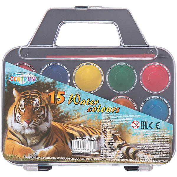 Краски акварельные Сумочка, 15 цветовКраски<br>Краски акварельные Сумочка, 15 цветов<br><br>Характеристики:<br><br>- в набор входит: краски, кисть<br>- размер упаковки: 18,5 * 1,5 * 18 см.<br>- для детей в возрасте: от 3 до 10 лет<br>- страна производитель: Китай<br><br>Целый набор ярких акварельных красок из коллекции «Зоопарк» от немецкого бренда Centrum (Центрум) понравится как девочкам, так и мальчикам! Целых пятнадцать цветов, которые можно смешивать между собой позволят нарисовать любой шедевр. Специальная формула красок хорошо отмывается от одежды и в тоже время позволяет цветам быть насыщенными на альбомном листе. Краски удобно носить благодаря ручке на коробочке. Работая с краскам дети развивают творческие способности, аккуратность, моторику рук, усидчивость, восприятие цвета и логику смешивания цветов, выражают свой внутренний мир в рисунках. <br><br>Краски акварельные Сумочка, 15 цветов можно купить в нашем интернет-магазине.<br>Ширина мм: 15; Глубина мм: 185; Высота мм: 180; Вес г: 146; Возраст от месяцев: 36; Возраст до месяцев: 120; Пол: Унисекс; Возраст: Детский; SKU: 5175461;