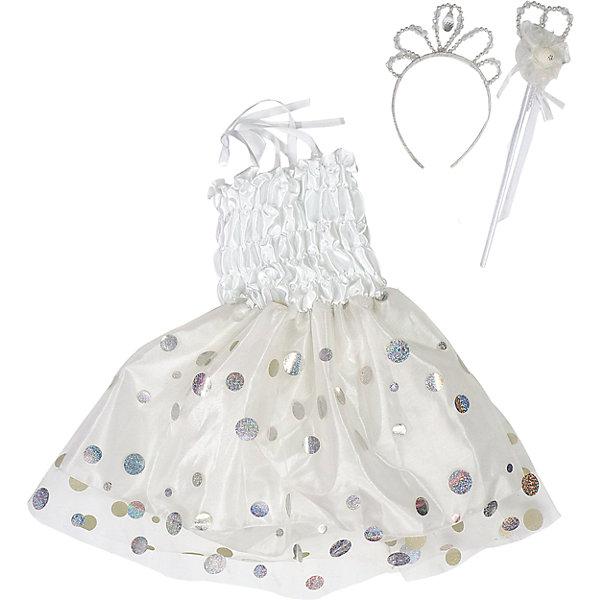 Костюм Снежинка, Новогодняя сказкаКарнавальные костюмы для девочек<br>Характеристики товара:<br><br>• цвет: белый<br>• комплектация: платье, ободок, палочка<br>• материал: текстиль, пластик<br>• для праздников и постановок<br>• упаковка: пакет<br>• длина платья: 55 см<br>• возраст: от 3 лет<br>• страна бренда: Российская Федерация<br>• страна изготовитель: Российская Федерация<br><br>Новогодние праздники - отличная возможность перевоплотиться в кого угодно, надев маскарадный костюм. Этот набор позволит ребенку мгновенно превратиться в Снежинку!<br>Он состоит из нескольких предметов, которые подойдут дошкольникам. Изделия удобно сидят и позволяют ребенку наслаждаться праздником или принимать участие в постановке. Модель хорошо проработана, сшита из качественных и проверенных материалов, которые безопасны для детей.<br><br>Костюм Снежинка от бренда Новогодняя сказка можно купить в нашем интернет-магазине.<br>Ширина мм: 375; Глубина мм: 30; Высота мм: 453; Вес г: 183; Возраст от месяцев: 36; Возраст до месяцев: 96; Пол: Женский; Возраст: Детский; SKU: 5177223;