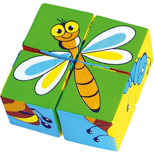 Мякиши Кубики Собери картинку - насекомые, Мякиши кубики русские деревянные игрушки игрушки д482а 4 шт