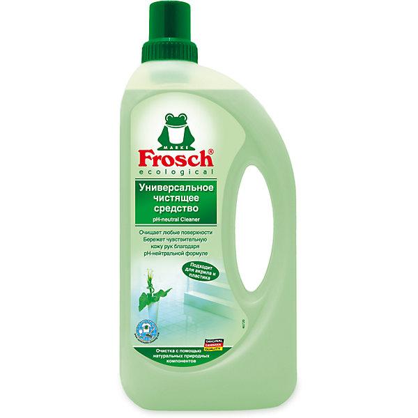 Универсальное чистящее средство, 1 л., FroschБытовая химия<br>Характеристики товара:<br><br>• объем: 1 л<br>• упаковка: пластик<br>• страна бренда: Германия<br>• страна изготовитель: Германия<br><br>Frosch - мировой лидер по производству чистящих средств, основанный в Германии. Отличительная особенность жидкостей – их безопасность и экологичность. Универсальное средство помогает хозяйкам поддерживать чистоту в доме без особых усилий и затрат. <br><br>Химическая формула растворяет и удаляет любые даже самые сложные загрязнения. Материалы, использованные при изготовлении товара, сертифицированы и отвечают всем международным требованиям по качеству. <br><br>Универсальное чистящее средство, 1 л., от немецкого производителя Frosch (Фрош) можно приобрести в нашем интернет-магазине.<br>Ширина мм: 120; Глубина мм: 55; Высота мм: 283; Вес г: 1140; Возраст от месяцев: 216; Возраст до месяцев: 1188; Пол: Унисекс; Возраст: Детский; SKU: 5185725;